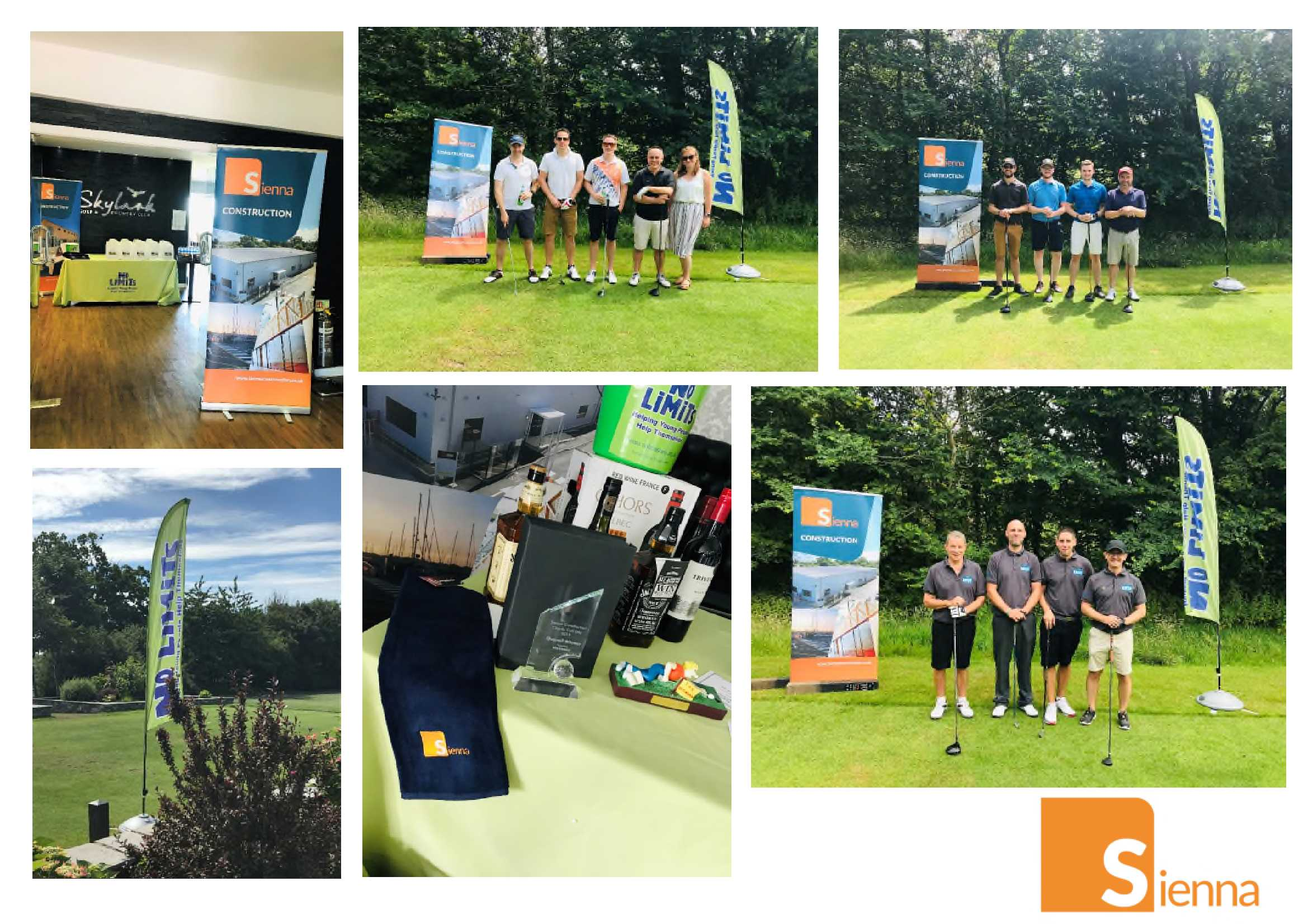 Collage of photos from the golf day 2019