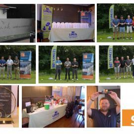 Various photos of teams and events on teh golf day